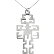 Mexico Sterling Geometirc Cross Pendant Necklace