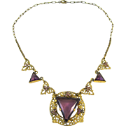 Vintage Amethyst Glass and Enamel Filigree Necklace