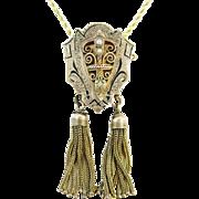 Victorian 14k Gold Enamel & Tassel Pendant/Pin