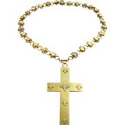 Victorian Large Cross Pendant/Pin with Chain