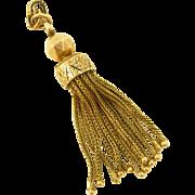 Victorian 14k Gold Enamel Tassel Pendant Charm