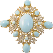 Kenneth J Lane Rhinestone and Turquoise Glass Cabochon Pendant/Pin
