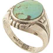 Art Deco Sterling Turquoise Ring by Uncas Manufacturing