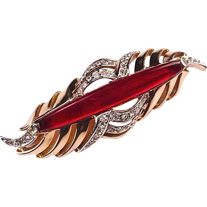 Reja Ruby Red Rhinestone Pin