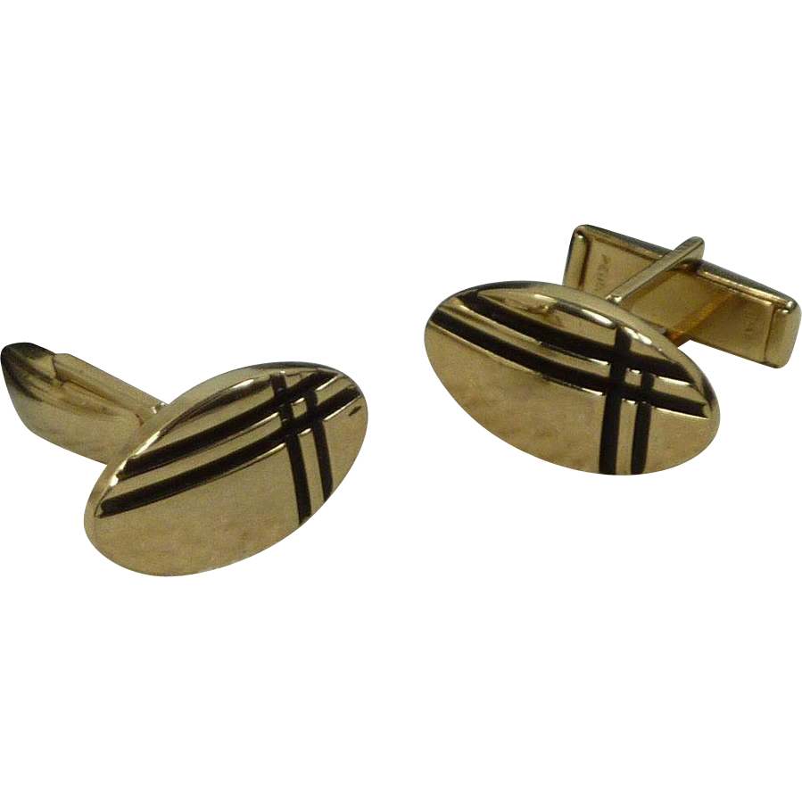Gold Tone Black Accent Cufflinks Cuff Links