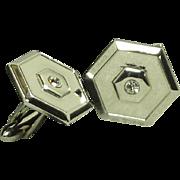 Swank Silver Tone Hexagon Shape Diamond Rhinestone Cufflinks Cuff Links
