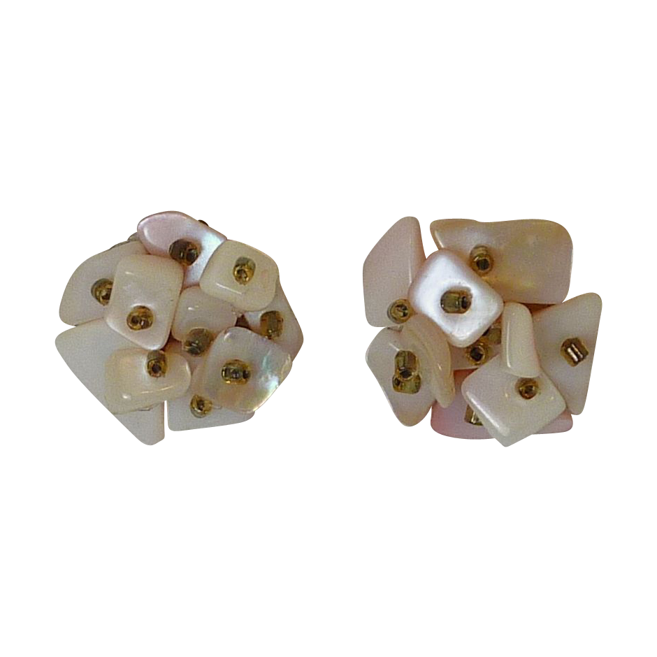 Mother of Pearl Clustered Clip On Earrings