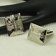 Rectangular Silver Tone Flower Etched Cufflinks