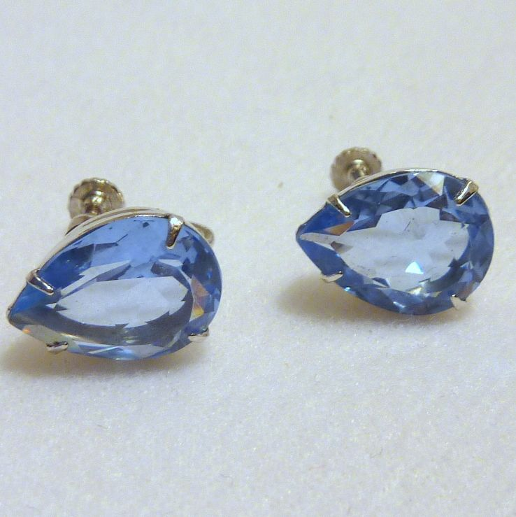 Blue Glass Tear Drop Screw Type Earrings