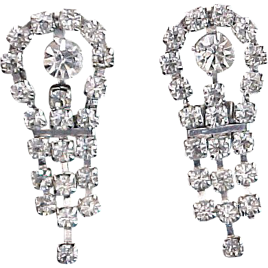 Rhinestone Diamond Evening Screw Type Earrings