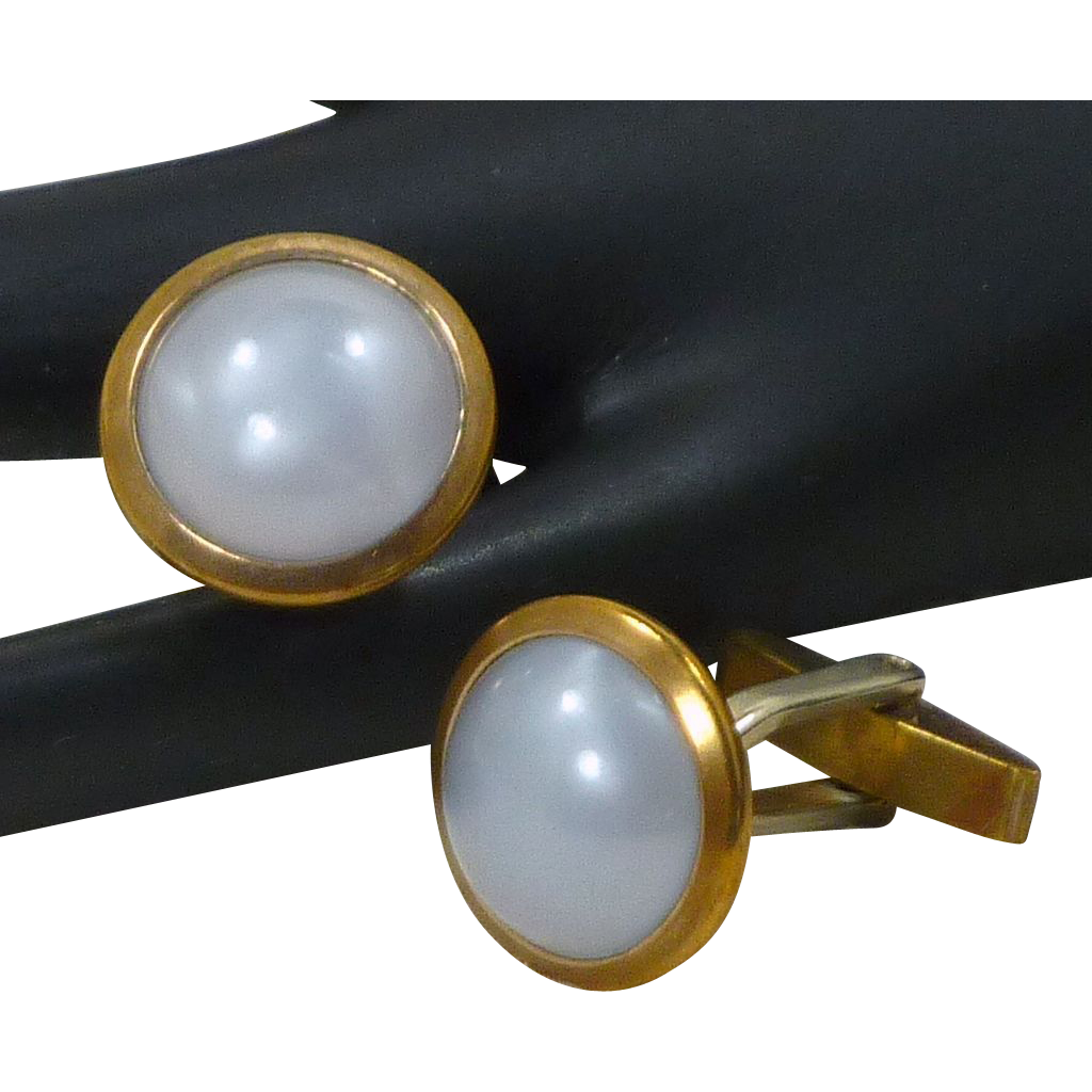 Round Faux Grey White Moonstone Cufflinks Cuff Links