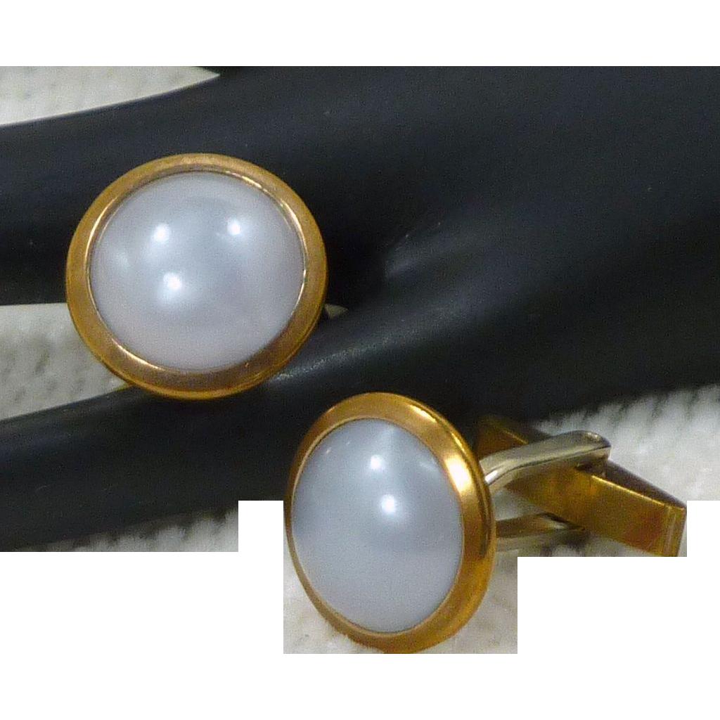 Round Faux Grey White Moonstone Cufflinks Cuff Links