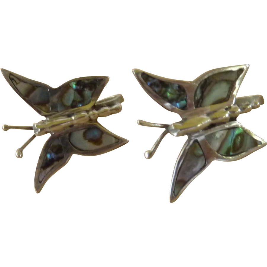 Silver Tone Abalone Winged Butterfly Earrings