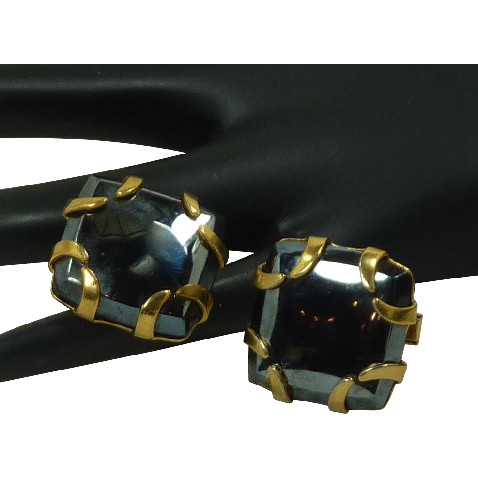 Large Hematite Gold Tone Cufflinks Cuff Links