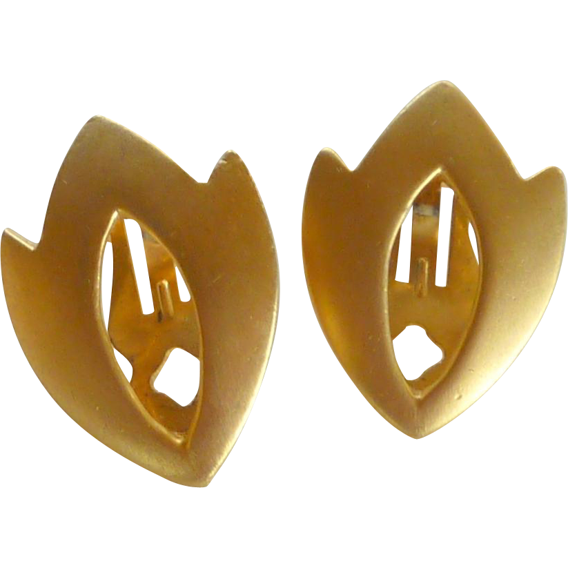 Geo Shape Shield Gold Tone Clip On Earrings