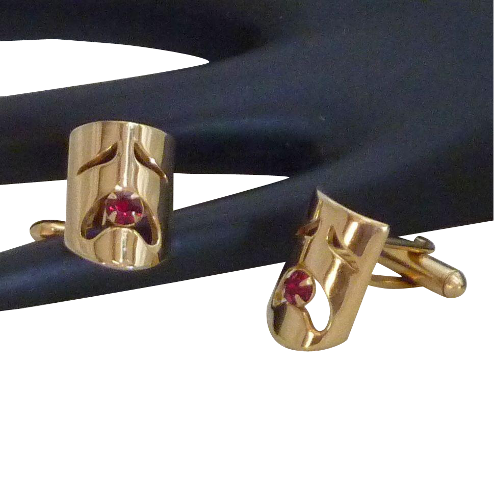 Tragedy Mask Red Rhinestone Cuff Links Cufflinks