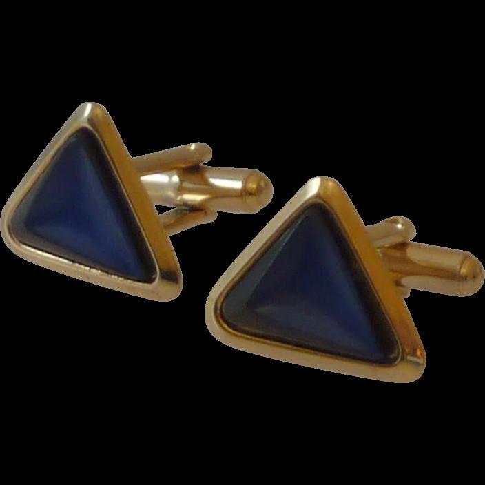 Blue & Black Glass Triangle Cufflinks Cuff Links