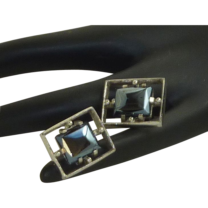 Anson Hematite Black Square Silver Toned Cufflinks Cuff Links