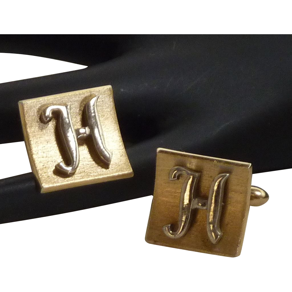 H Script Initial Gold and Silver Toned Swank Cufflinks Cuff Links