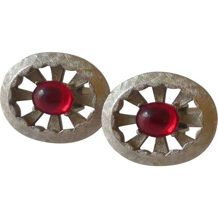 Brushed Silver Tone Spoke Oval with Red Glass Cufflinks Cuff Links