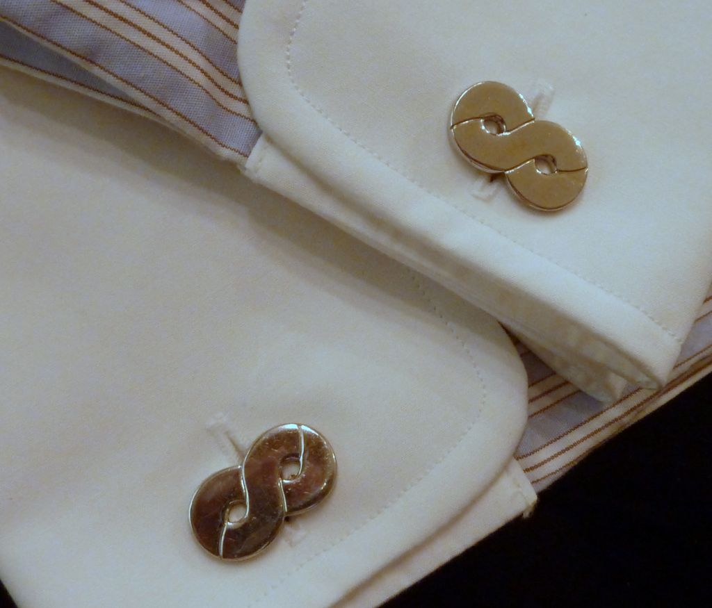 Silver Tone Number Eight 8 Cufflinks Cuff Links