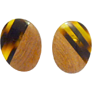 Wood with Faux Tortoise Shell Look Clip on Earrings