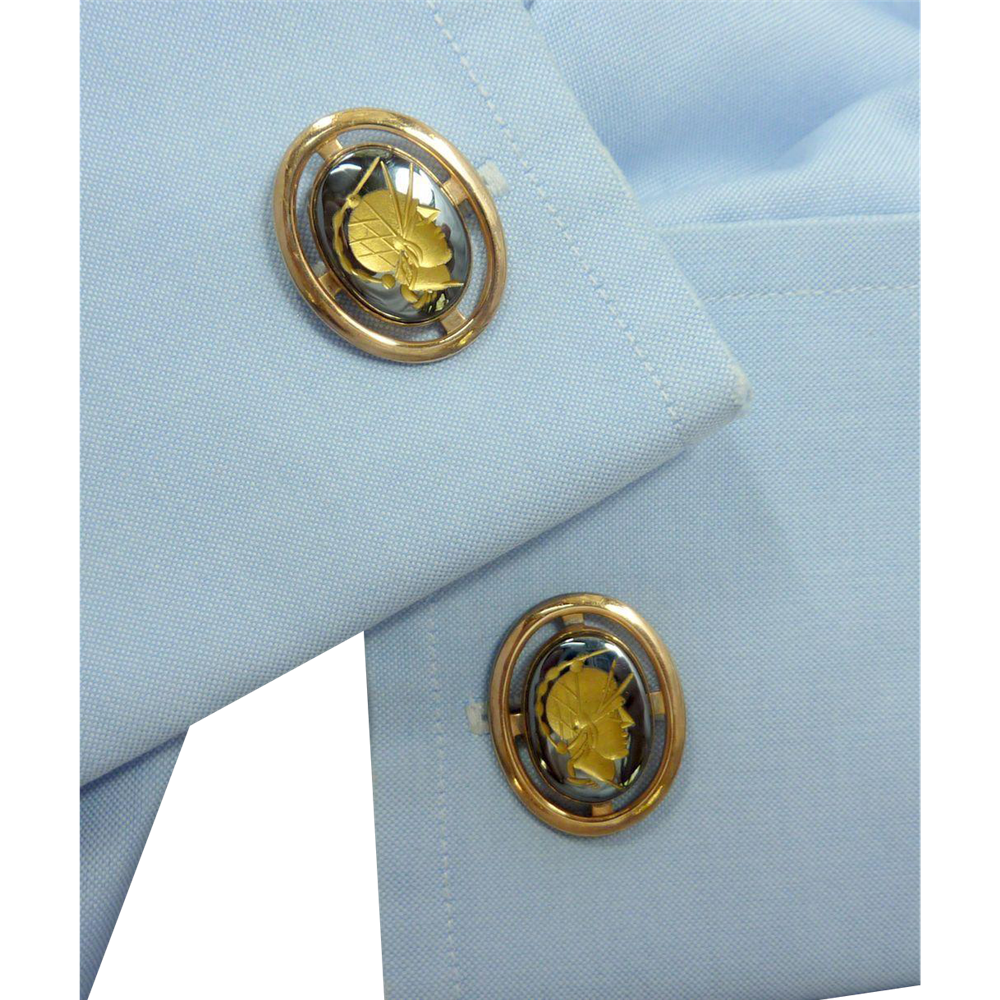 Gold Tone Black Centurion Roman Warrior LaMode Cufflinks Cuff Links