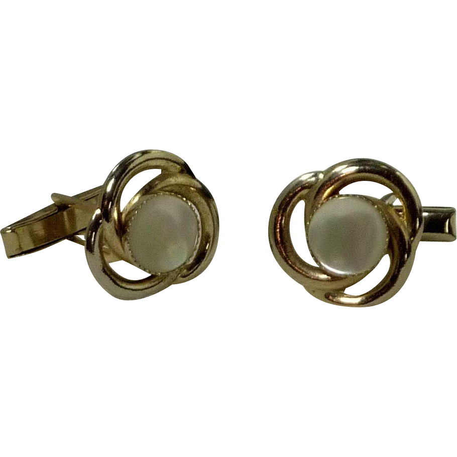 Mother of Pearl Gold Tone Setting Cuff Links Cufflinks