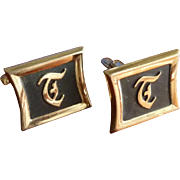 Hickock Initial T Gold Tone Cufflinks Cuff Links