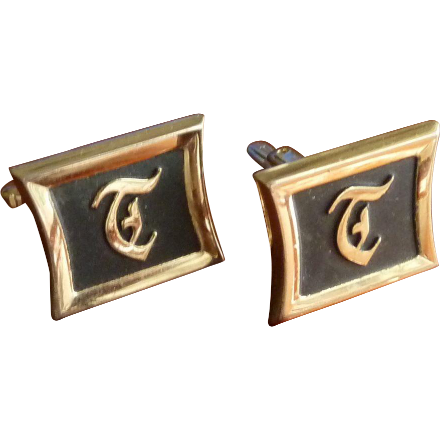 "Hickock Initial ""T"" Gold Tone Cufflinks Cuff Links"