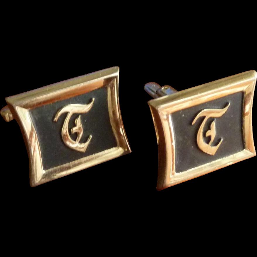 Hickock Initial T Gold Tone Cufflinks Cuff Links
