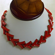 Gold Tone Tomato Red Thermoset Plastic Necklace