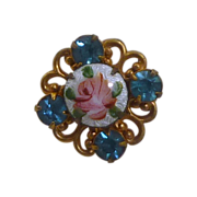 Small Guilloche Enamel Pink Rose Rhinestone Brooch Pin