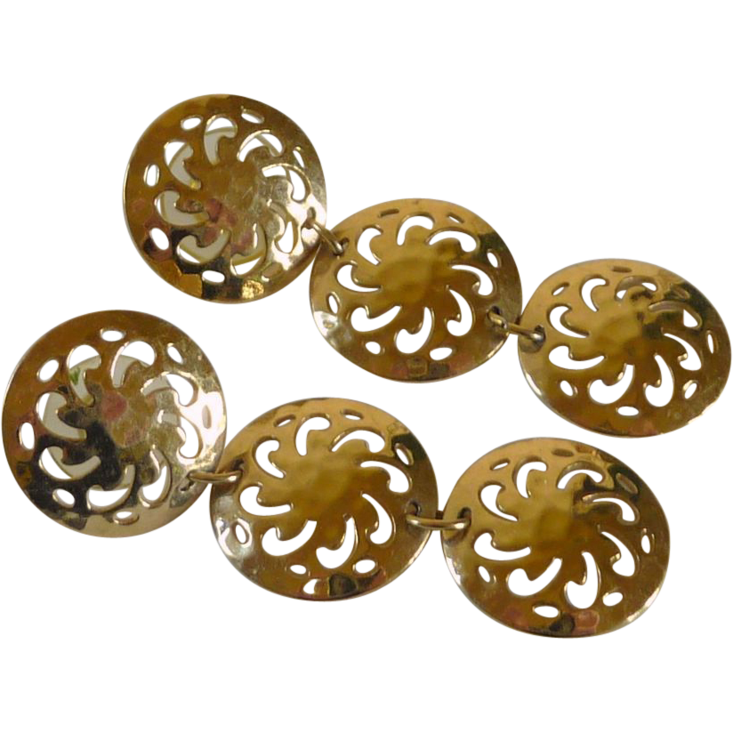 Three Filigree Disc Gold Tone Earrings Pierced