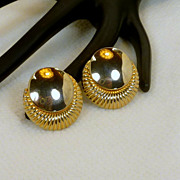 Gold Tine Disc Clip On Earrings by Star