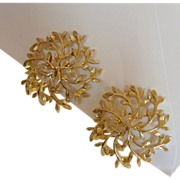 Large Filigree Like Soft Gold Tone Clip On Earrings