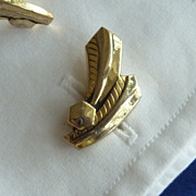 Abstract Leaf Feather Gold Tone Cufflinks Cuff links