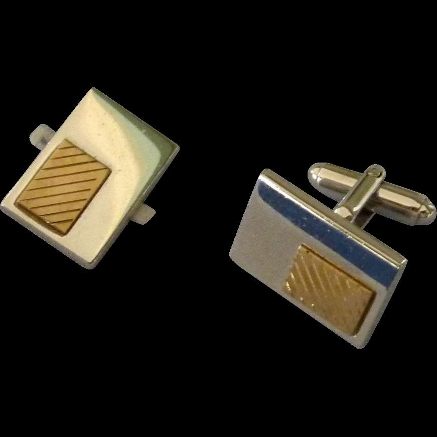 SilverTone /Gold Tone Rectangular Cuff Links Cufflinks