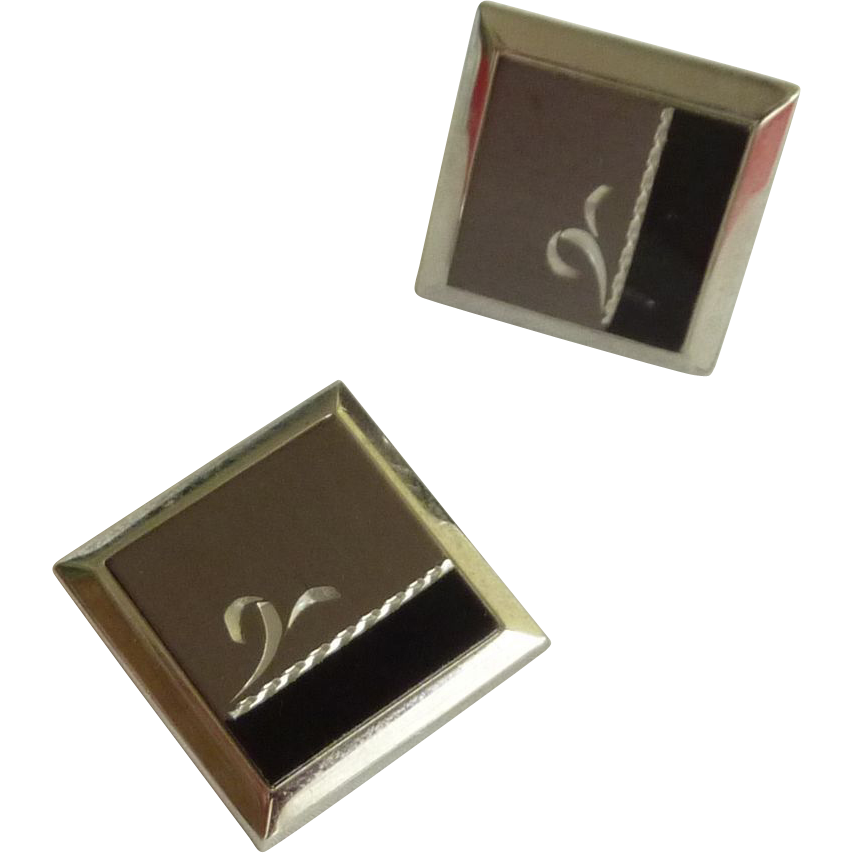 Swank Black and Silver Tone Cuff links Cufflinks