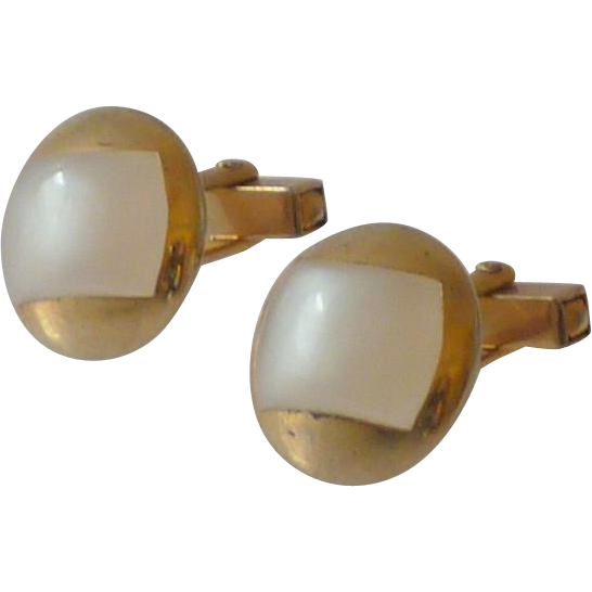 Off White Thermal Plastic Stone Gold Tone Cufflinks Cuff Links