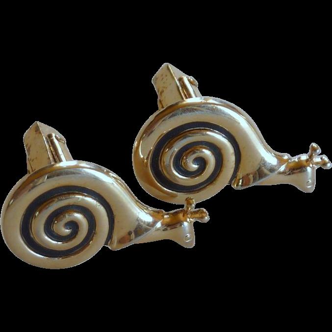 Gold Tone Snail Anson Cufflinks Cuff Links