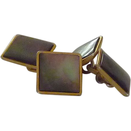 Gold Plate Black / Brown Mother of Pearl Cufflinks Cuff Links