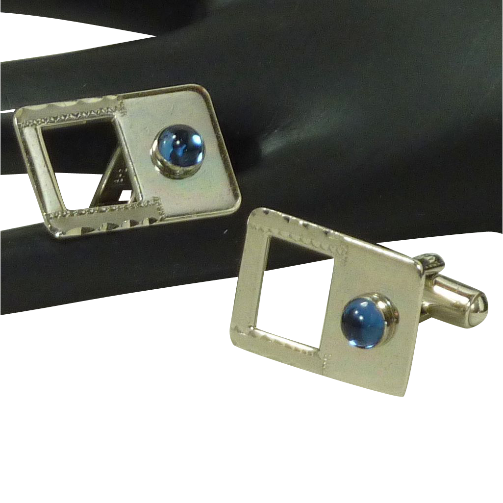 Speidel Silver Tone Blue Glass Stone Cuff Links Cufflinks