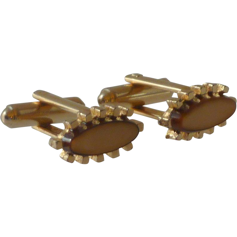 Canada Brown Oval Stone Gold Tone Cufflinks Cuff Links