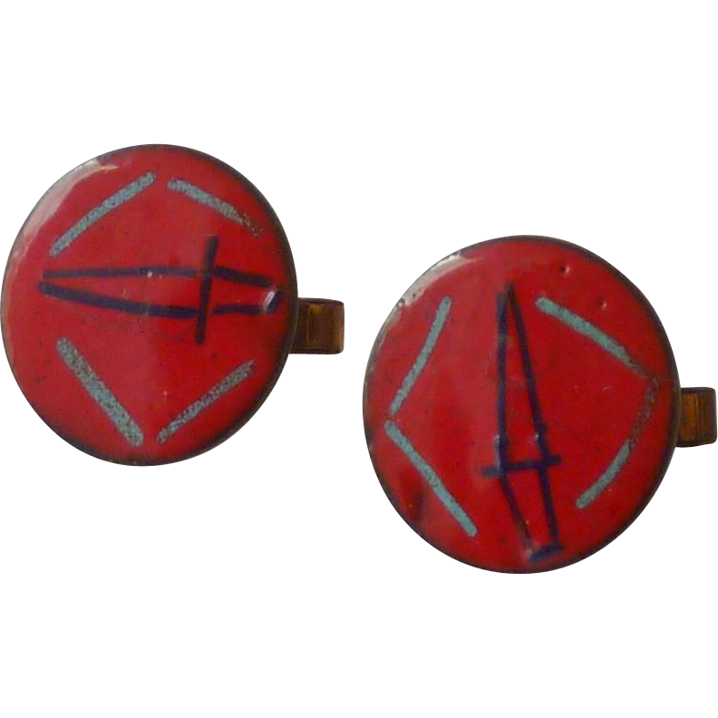 Enamel Red on Copper Cufflinks Cuff Links