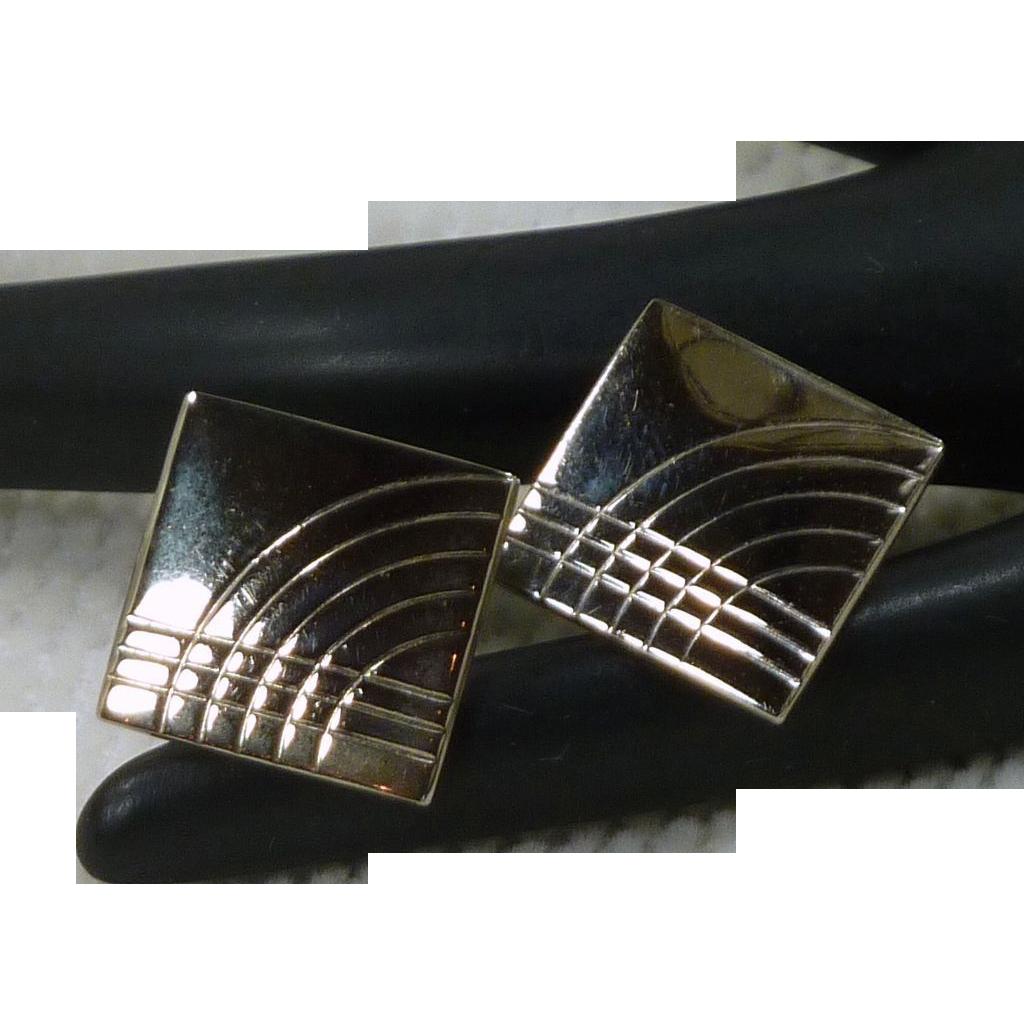 Silver Tone Square Cufflinks Cuff Links