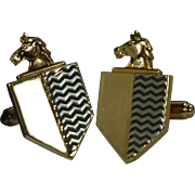 Hickok Horse and Shield Gold Tone Cufflinks Cuff Links