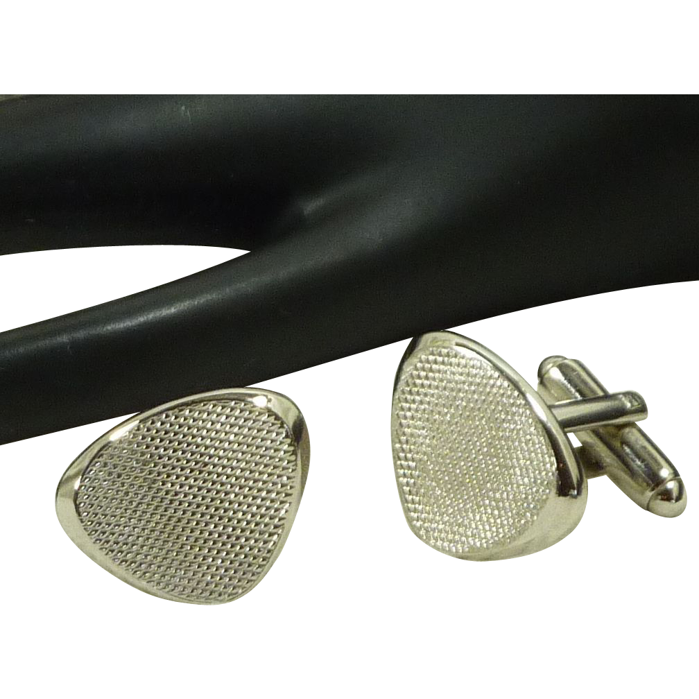 Silver Toned Textured Triangle  Cufflinks Cuff Links