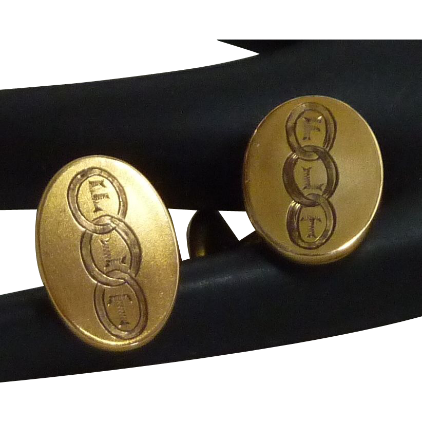 Early 1900's Gold Tone Initial FLT Oval Cuff Links Cufflinks