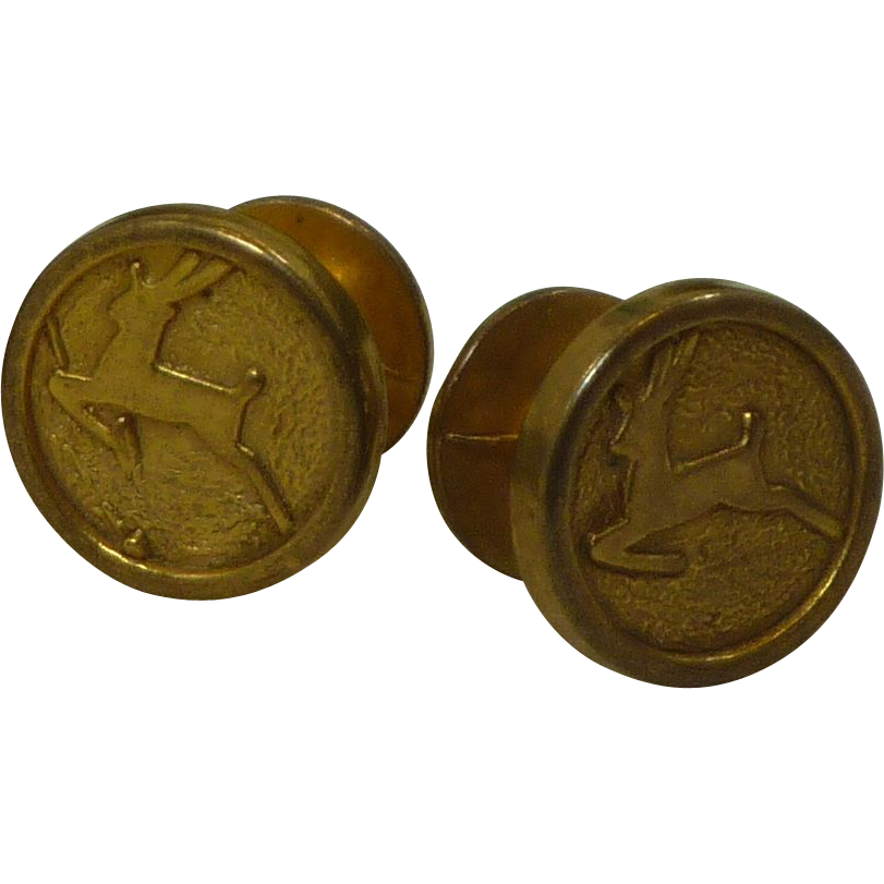 Leaping Deer Embossed on Gold Tone Cufflinks Cuff Links